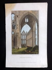 Allen 1829 Antique Hand Col Print. Whitby Abbey, Yorkshire